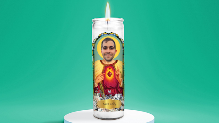 Best personalized gifts 2020: LitFriends Saint Selfie Custom Prayer Candle