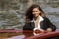FILE - In this Sept, 3, 2021 file photo Zendaya arrives for the photo call of the film 'Dune' at the 78th edition of the Venice Film Festival in Venice, Italy1. (AP Photo/Dejan Jankovic, File)