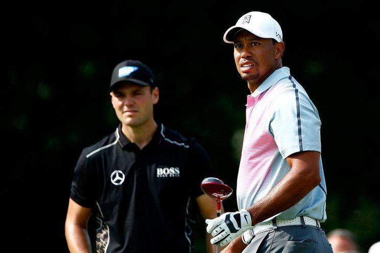 Martin Kaymer and Tiger Woods in 2014. (Getty)