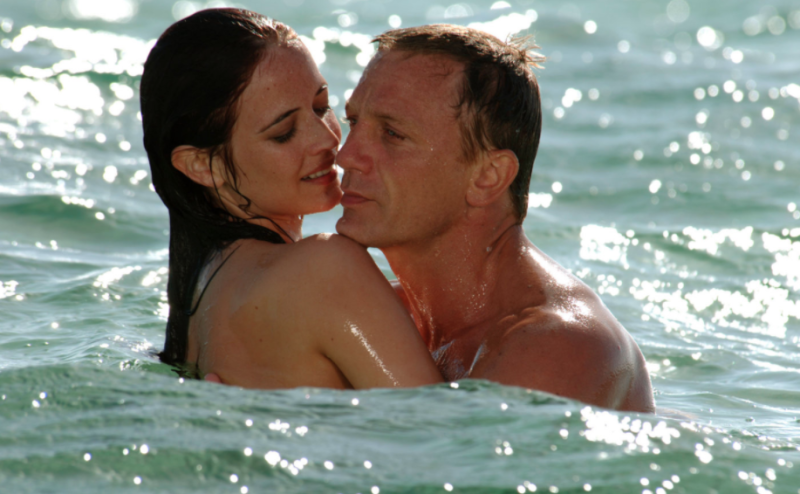 Vesper Lynd (Eva Green) and James Bond (Daniel Craig) embrace in Casino Royale. (MGM/Eon/Sony Pictures)