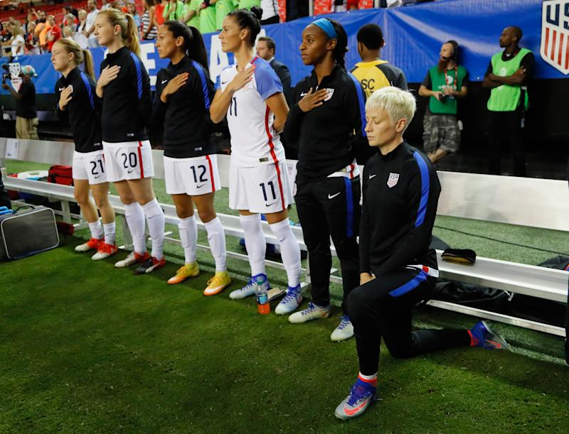 U.S. Soccer will vote to repeal a rule requiring players to stand for the national anthem. (Kevin C. Cox/Getty Images)