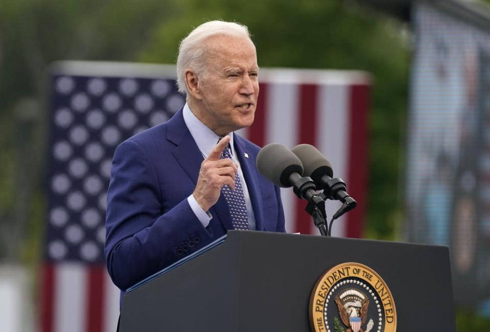 "<span class=""caption"">President Joe Biden speaks during a rally at Infinite Energy Center to mark his 100th day in office on April 29, 2021, in Duluth, Ga. Biden has spoken often about his lifelong struggle with stuttering.</span> <span class=""attribution""><span class=""source"">(AP Photo/Evan Vucci, File)</span></span>"