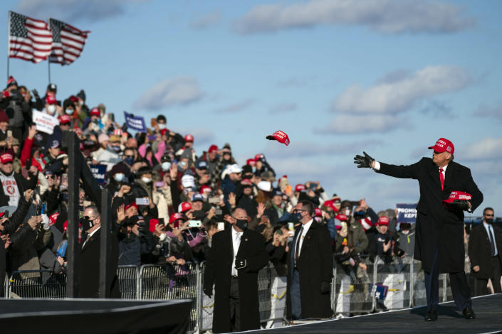 President Donald Trump arrives for a campaign rally at Wilkes-Barre Scranton International Airport, Monday, Nov. 2, 2020, in Avoca, Pa. (AP Photo/Evan Vucci)