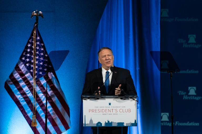 US Secretary of State Mike Pompeo addresses the Heritage Foundation