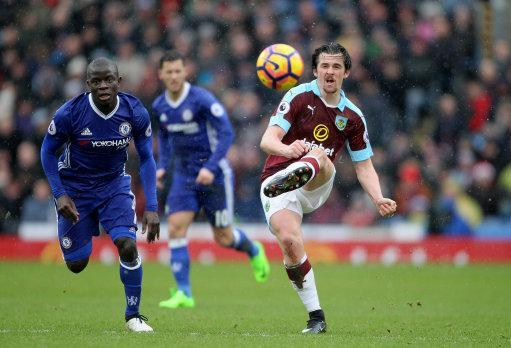 Burnley's Joey Barton was evidently unimpressed when he faced Chelsea's N'Golo Kante