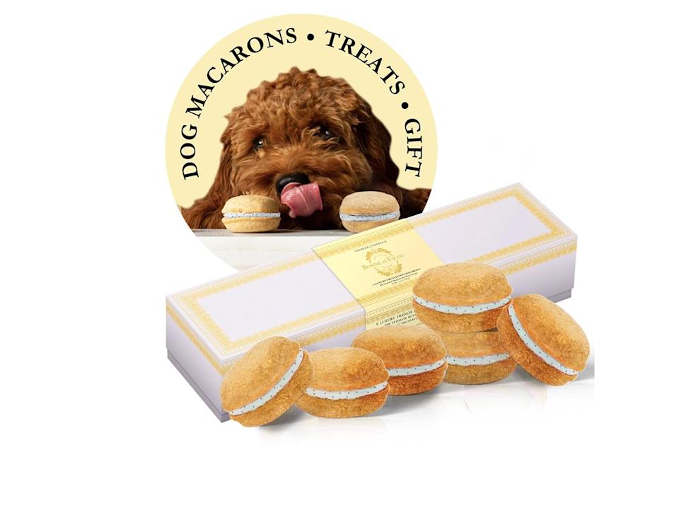 """<p>Feed your dog like one of your French girls with these pet-safe macarons. </p> <p><strong>Buy it!</strong> Vanilla Dog Macarons, $23.99; <a href=""""https://bonneetfilou.com/collections/all-products/products/vanilla-dog-macarons"""" rel=""""nofollow noopener"""" target=""""_blank"""" data-ylk=""""slk:BonneetFilou.com"""" class=""""link rapid-noclick-resp"""">BonneetFilou.com</a></p>"""