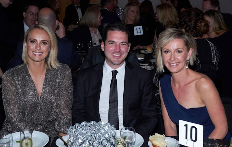 Karl's younger brother Peter and his wife Sylia (L), as well as Nine presenter Deborah Knight (R). Source: Getty