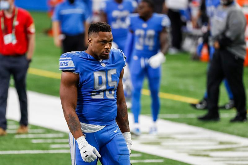 Detroit Lions defensive end Romeo Okwara walks off the field after the 27-23 loss to the Chicago Bears at Ford Field, Sunday, Sept. 13, 2020.