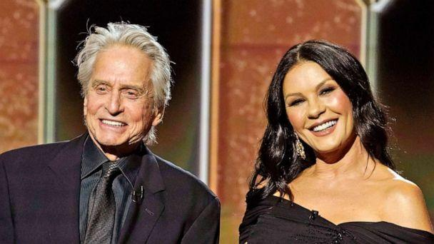 PHOTO: Michael Douglas and Catherine Zeta-Jones pose on stage at the 78th Annual Golden Globe Awards on Feb. 28, 2021 in New York. (Peter Kramer/nbc/NBCU Photo Bank via Getty Images)