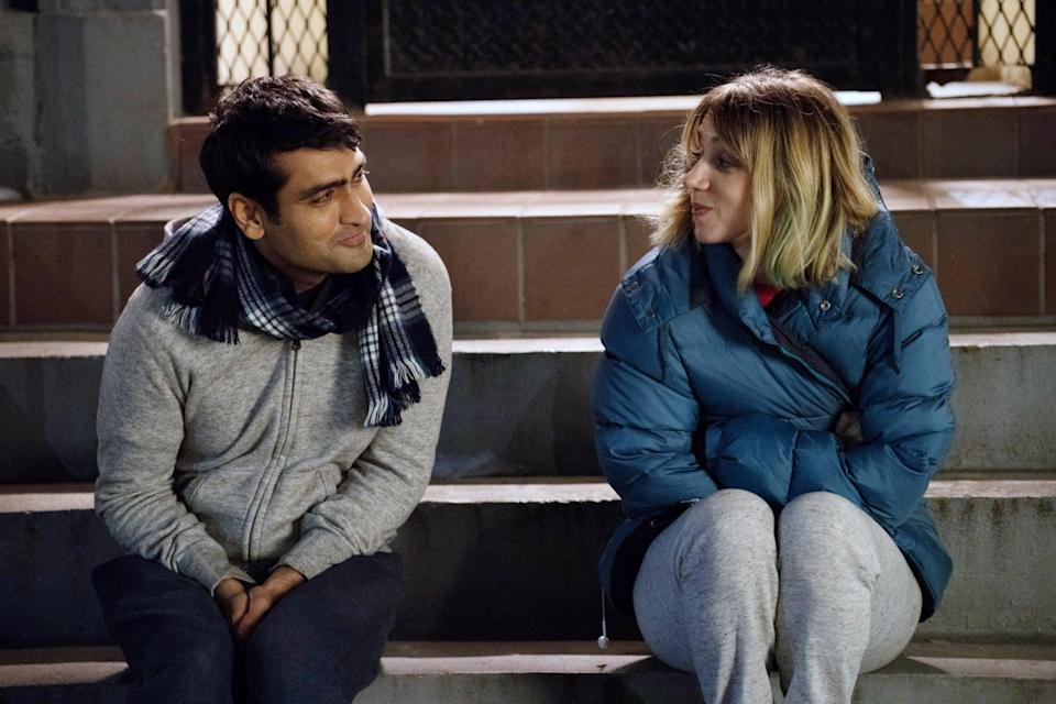 """<p>He's a Pakistani comedian, and she's an American grad student. When Kumail and Emily meet at a stand-up show, they're instantly drawn to each other. But as their relationship develops, so do Kumail's concerns about their culturally opposite families. Things take an unexpected turn when Emily falls ill, and Kumail forms a close bond with Emily's parents.</p> <p><a href=""""https://www.amazon.com/Big-Sick-Kumail-Nanjiani/dp/B089XYBLJV/ref=sr_1_2?dchild=1&amp;keywords=the+big+sick&amp;qid=1617989088&amp;s=instant-video&amp;sr=1-2"""" class=""""link rapid-noclick-resp"""" rel=""""nofollow noopener"""" target=""""_blank"""" data-ylk=""""slk:Watch The Big Sick on Amazon Prime"""">Watch <strong>The Big Sick</strong> on Amazon Prime</a>.</p>"""