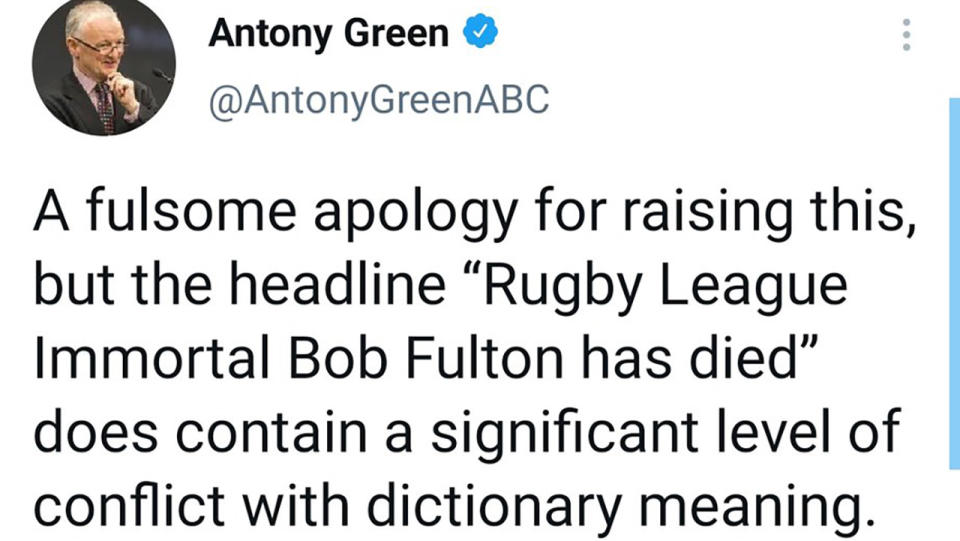 Antony Green's tweet about Bob Fulton, pictured here on Twitter.