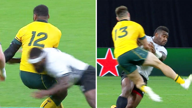 The Fijians showed their physicality during the World Cup match against the Wallabies. (Images: Fox Sports)