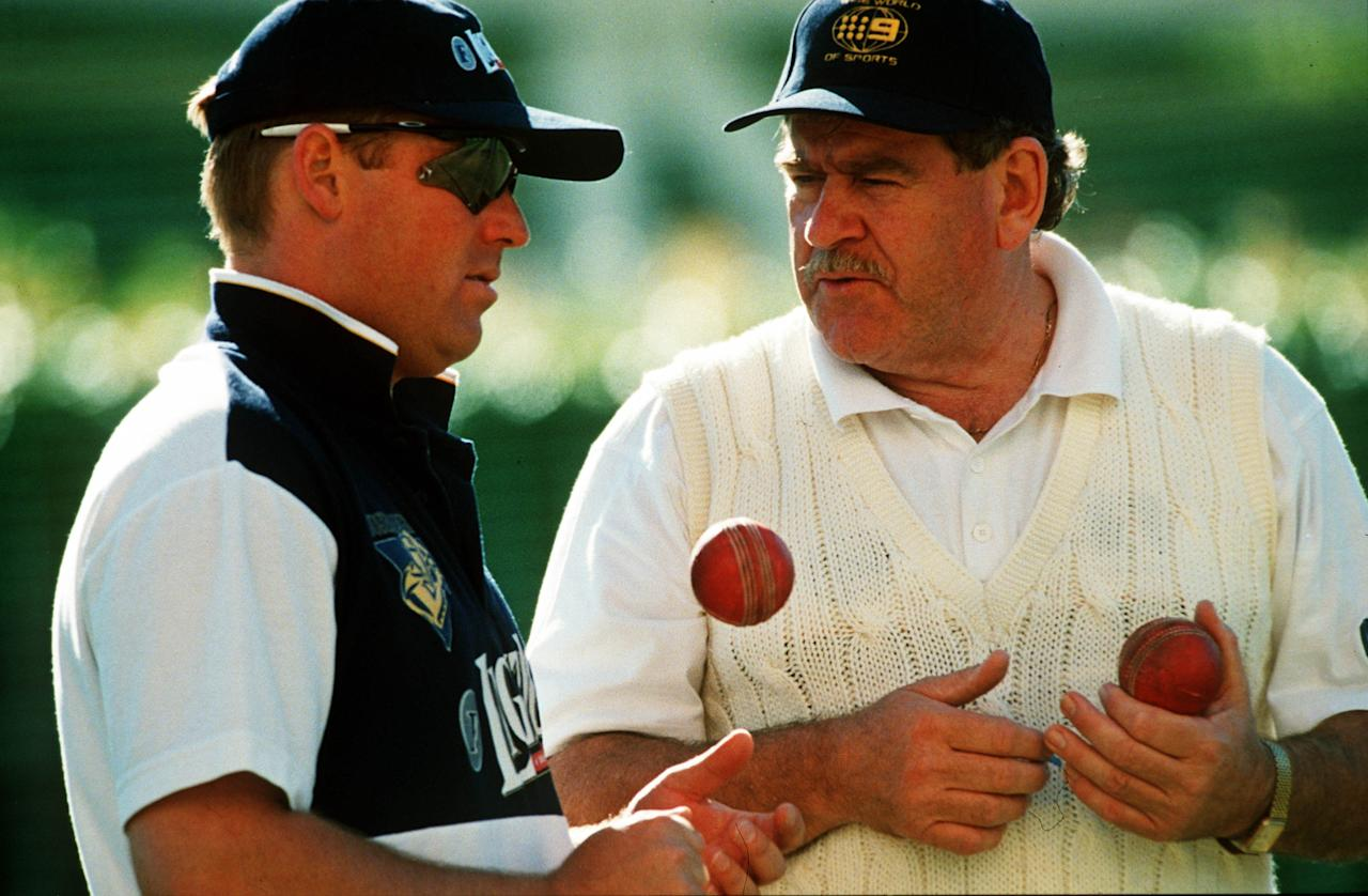 28 Oct 1998:  Leg spin coach Terry Jenner advises Shane Warne during Victorian cricket training at the MCG, Melbourne, Australia. Mandatory Credit: Jack Atley/ALLSPORT