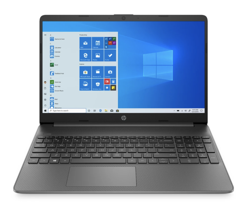 black hp laptop for college and university students with blue screen