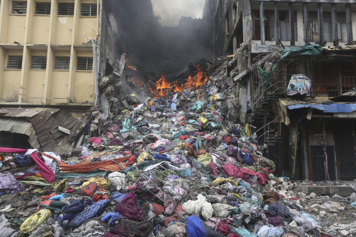 The scene of a fire in Balogun Market in downtown Lagos, Nigeria, Wednesday, Nov. 6, 2019. (Photo: Sunday Alamba/AP)