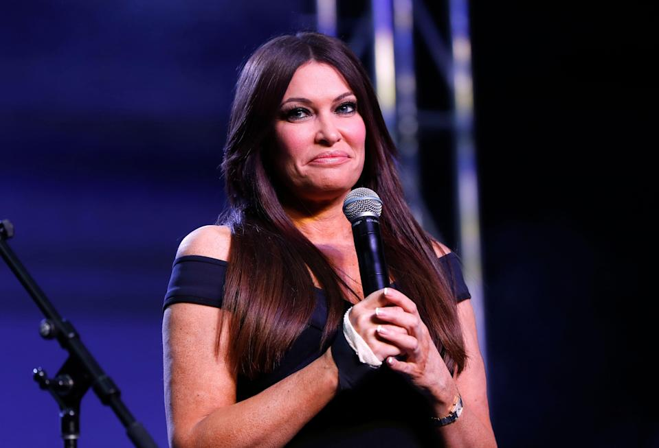 Kimberly Guilfoyle appears at a rally for Republican U.S. Senate candidate John James in Pontiac, Mich., Wednesday, Oct. 17, 2018. (AP Photo/Paul Sancya)