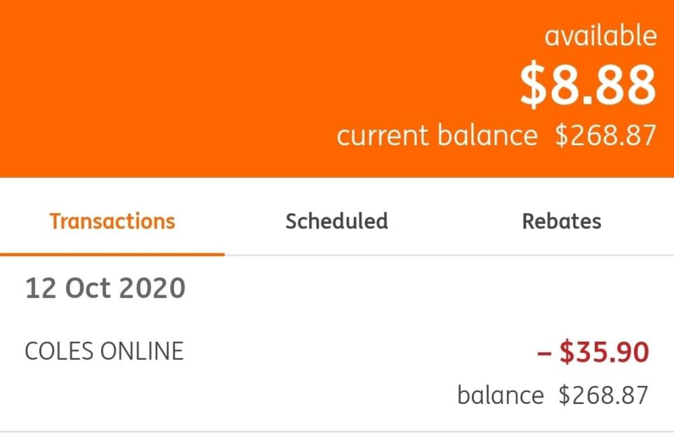 Mrs Gillett's bank records show the $258.99 pre-authorisation amount still being held, nearly a week after she place her order. Source: Supplied