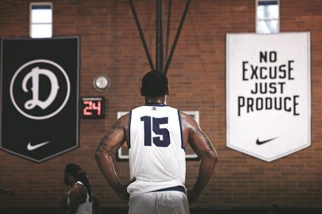 """At the Drew League, """"No Excuse, Just Produce"""" is more than just a slogan. (Photo via @DrewLeague)"""
