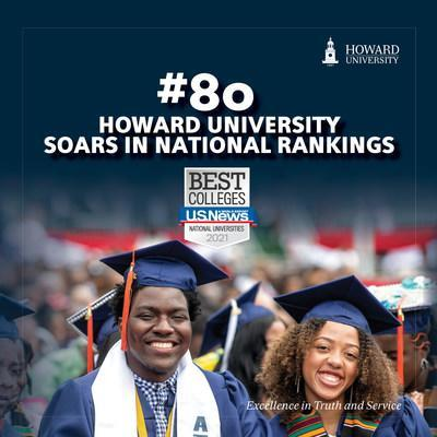 Howard University soared to No. 80 on the latest U.S. News & World Report 2021 rankings list of the best national universities. The achievement marks the University's best record to date.