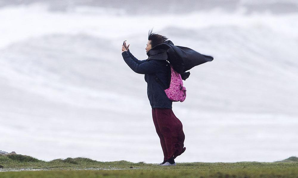 <p>An orange wind warning – the second highest – has been issued for southern and western coastal areas of Ireland, spanning counties Mayo, Galway, Clare, Kerry, Cork, Waterford and Wexford. (Chris Fairweather/Huw Evans/REX/Shutterstock) </p>