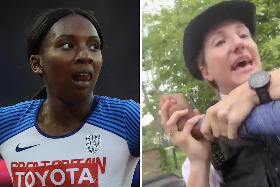 GB sprinting star Bianca Williams was detained in front of her three-month-old baby: Getty/Twitter