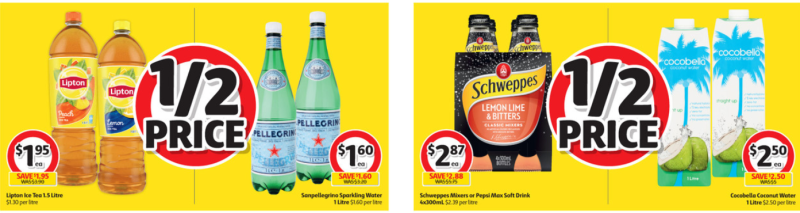 Drinks on sale for half-price at Coles.