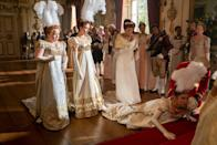 <p>One of the Featherington sisters suffers an embarrassing moment in front of the Queen. But can we talk about those major feathered headpieces?</p>