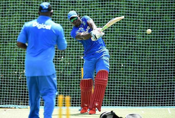 DUBAI, UNITED ARAB EMIRATES - SEPTEMBER 17: Rovman Powell of West Indies bats during a nets session at ICC Cricket Academy on September 17, 2016 in Dubai, United Arab Emirates. (Photo by Tom Dulat/Getty Images)