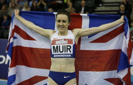 Britain Athletics - Birmingham Indoor Grand Prix - Barclaycard Arena, Birmingham - 18/2/17 Great Britain's Laura Muir celebrates winning the Women's 1000m Action Images via Reuters / Matthew Childs Livepic