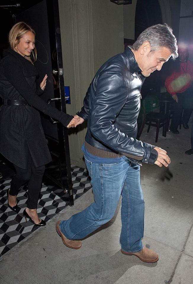 Perennial bachelor George Clooney, 50, and his latest lady, 32-year-old former pro-wrestler Stacy Keibler, hit celeb hot spot Craig's in West Hollywood, California, for a romantic dinner on Tuesday night. (12/6/2011)