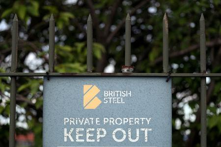 FILE PHOTO: A British Steel works sign is seen in Scunthorpe, northern England, May 21, 2019. REUTERS/Scott Heppell/File Photo