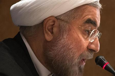 Iran's President Rouhani speaks to journalists during a news conference in New York