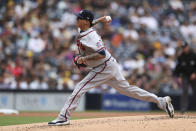 Atlanta Braves starting pitcher Jesse Chavez delivers to a San Diego Padres' batter in the first inning of a baseball game Sunday, Sept. 26, 2021, in San Diego. (AP Photo/Derrick Tuskan)