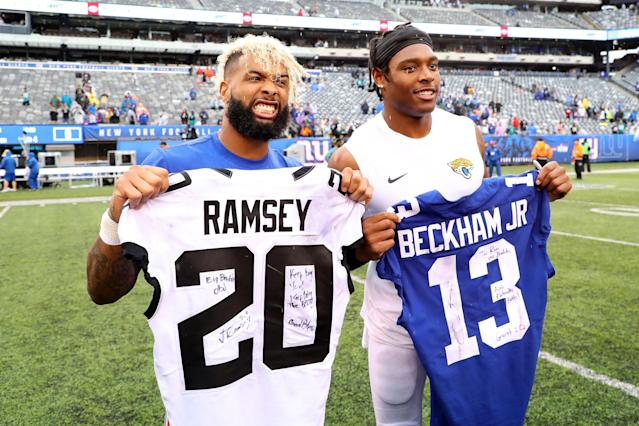 Where most find themselves on the end of Jalen Ramsey's wrath, it was nothing but love with Odell Beckham after Sunday's Giants-Jaguars game. (Getty)