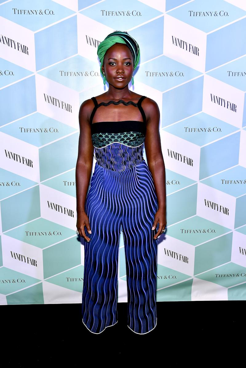 Lupita Nyong'o in Mary Katrantzou at the Vanity Fair and Tiffany & Co. dinner in her honor in Toronto, Canada, September 2016.