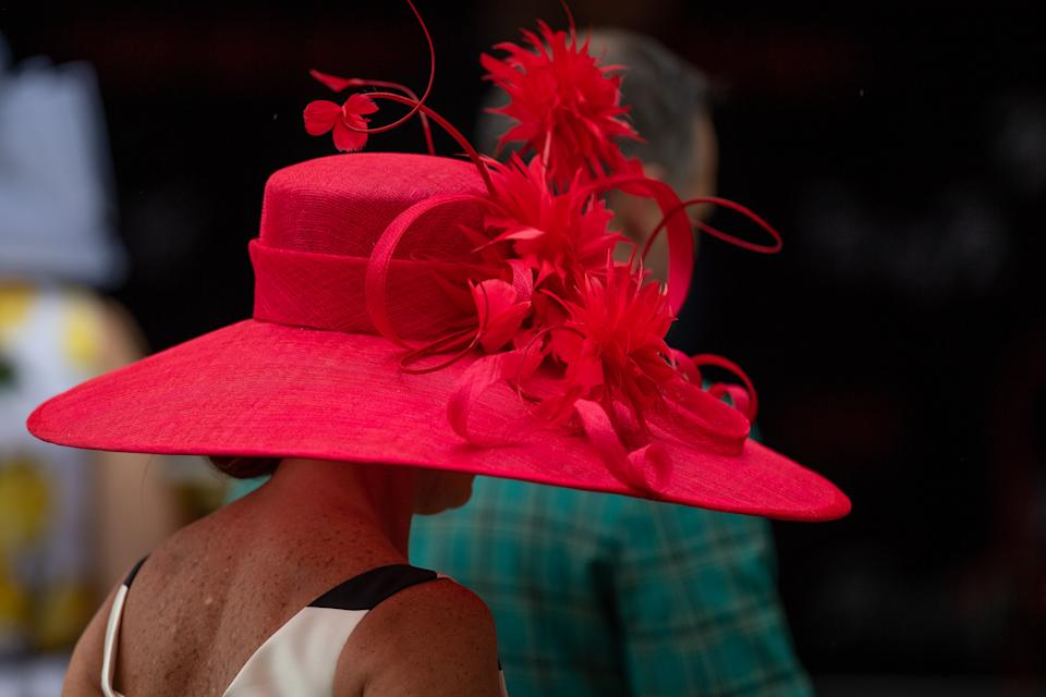 LOUISVILLE, KY - MAY 05: A spectator wears a fancy hat during the Kentucky Derby on May 5, 2018 at Churchill Downs in Louisville, KY. (Photo by Zach Bolinger/Icon Sportswire via Getty Images)
