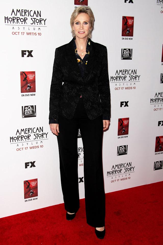 "Jane Lynch attends the ""American Horror Story: Asylum"" premiere held at Paramount Studios on October 13, 2012 in Hollywood, California."