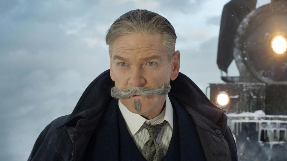 Kenneth Branagh steps into the director's chair and the absurd, luscious moustache of Hercule Poirot for this sequel to his 2017 adaptation of <em>Murder on the Orient Express</em>. It's another Agatha Christie and it's about someone dying in Egypt, funnily enough. (Credit: Fox)