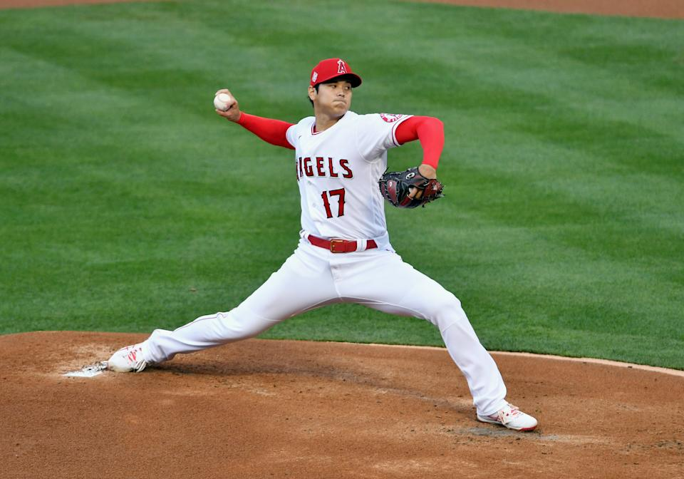 ANAHEIM, CA - APRIL 04: Los Angeles Angels pitcher Shohei Ohtani (17) pitching in the first inning of a game against the Chicago White Sox played on April 4, 2021 at Angel Stadium in Anaheim, CA. (Photo by John Cordes/Icon Sportswire via Getty Images)