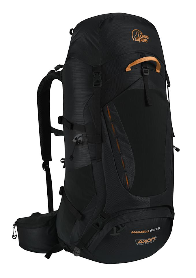"""<p><a rel=""""nofollow"""" href=""""https://lowealpine.com/uk/backpacking/multi-day/manaslu-65-75""""><b>Lowe Alpine Manaslu 65:75</b></a><b>, £165.</b><span> This is an excellent choice if you're going the extra mile on your travels. It has plenty of space and has an expandable capacity, and ensures a comfortable fit thanks to the aerated mesh back panel and hip belt that moves with your body when you walk. Choose from four colours. [Photo: Lowe Alpine]</span> </p>"""