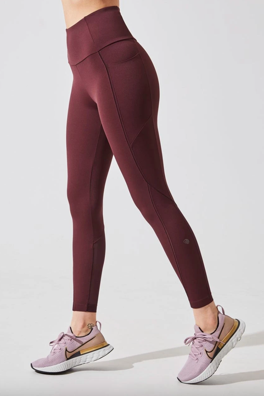 Accelerate High Waisted Recycled Nylon 7/8 Legging in Coffee (Photo via MPG Sport)