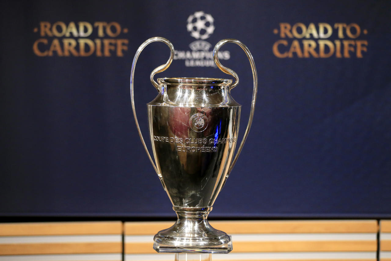 Football Soccer - UEFA Champions League Semi-Final Draw - Nyon, Switzerland - 21/4/17 The UEFA Champions League trophy is pictured before the draw of the semi-finals Reuters / Pierre Albouy Livepic
