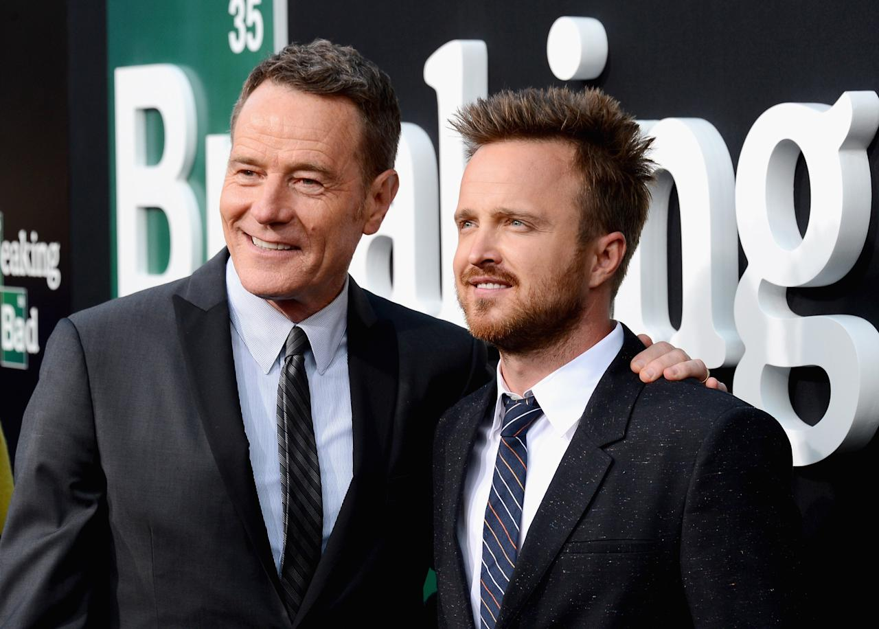 "CULVER CITY, CA - JULY 24: Actors Bryan Cranston and Aaron Paul arrive as AMC Celebrates the final episodes of ""Breaking Bad"" at Sony Pictures Studios on July 24, 2013 in Culver City, California. (Photo by Mark Davis/Getty Images)"