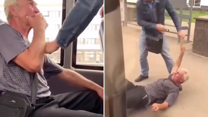 Photo shows the elderly man smoking on the bus and then a photo of him being dragged from the bus by another man.