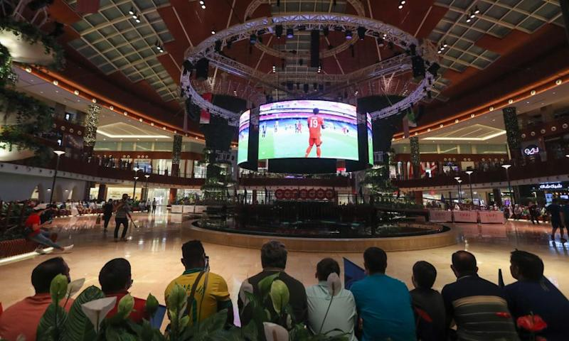 PSG fans watch the Champions League final on a giant screen at the Mall of Qatar in the capital Doha.