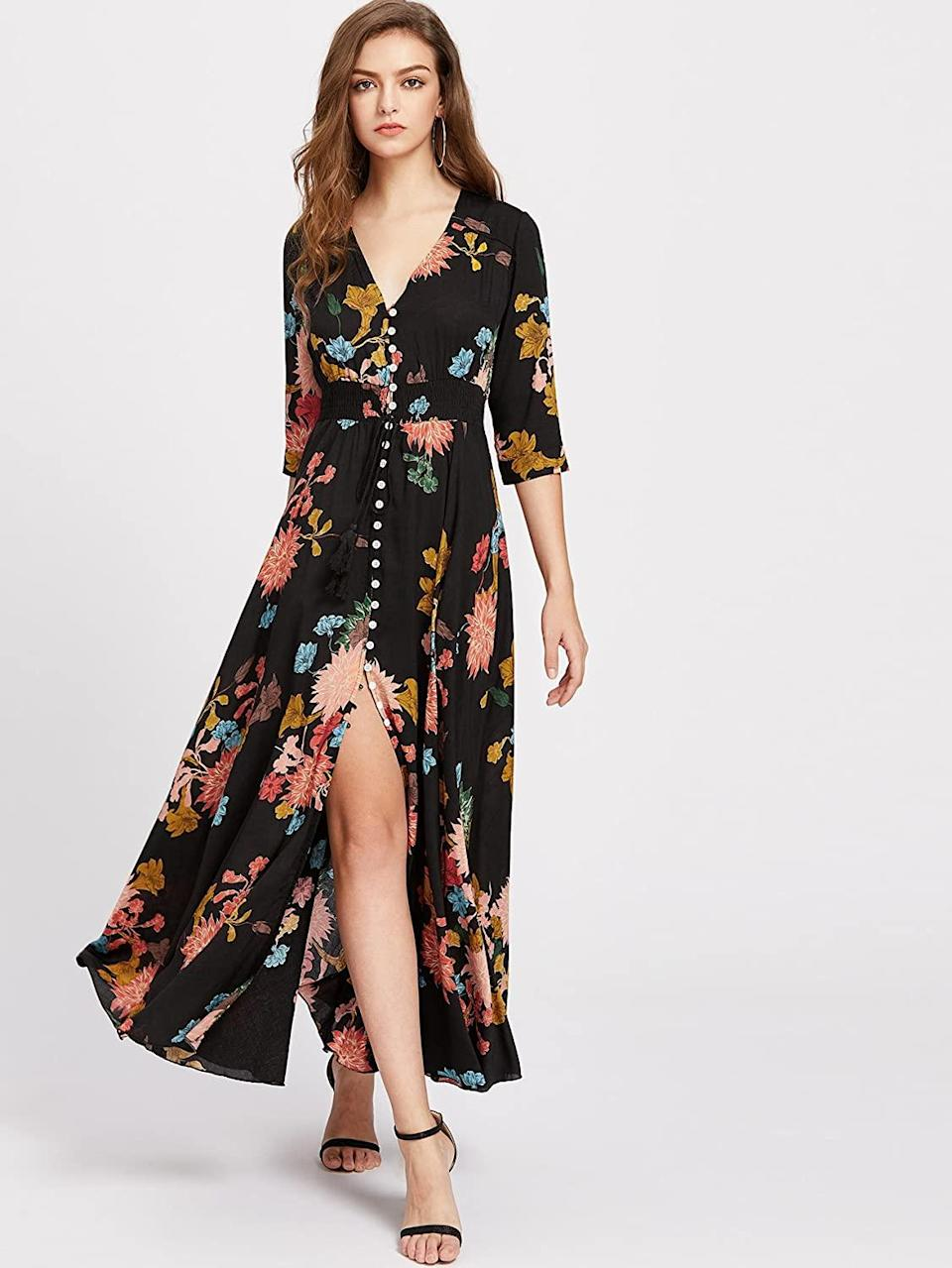 """<br><br><strong>Milumia</strong> Flowy Floral Maxi, $, available at <a href=""""https://amzn.to/3iuc6i4"""" rel=""""nofollow noopener"""" target=""""_blank"""" data-ylk=""""slk:Amazon"""" class=""""link rapid-noclick-resp"""">Amazon</a>"""