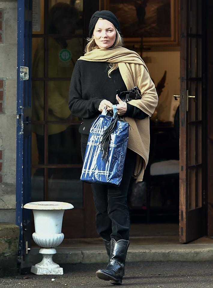 WHO: Kate Moss<br> WHERE: On the street, Lechlade-on-Thames, Gloucestershire, England WHEN: December 24, 2018