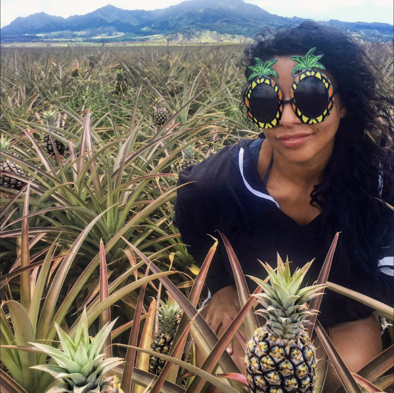 Rachael Minaway pictured in a pineapple field in Hawaii.