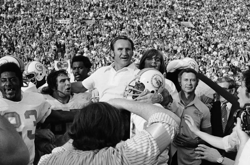 The Miami Dolphins carry coach Don Shula off the field after Super Bowl VII. (AP Photo/File)