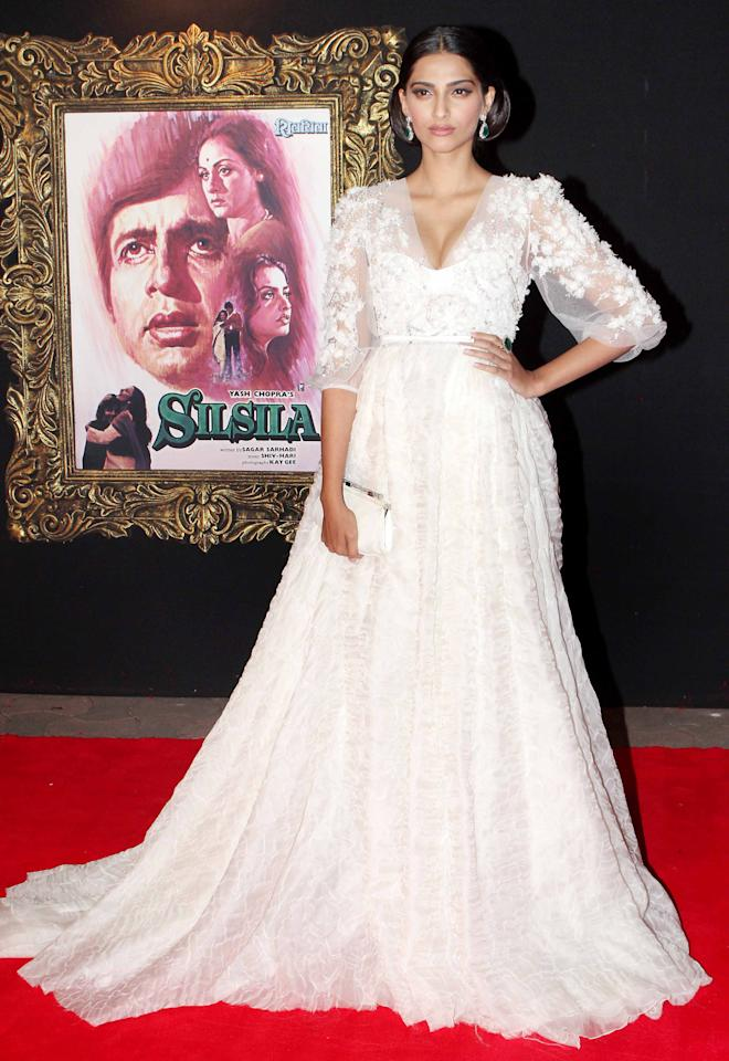 Sonam Kapoor looks likes she just stepped out of a Disney fairytale. This gown is fit for a princess.